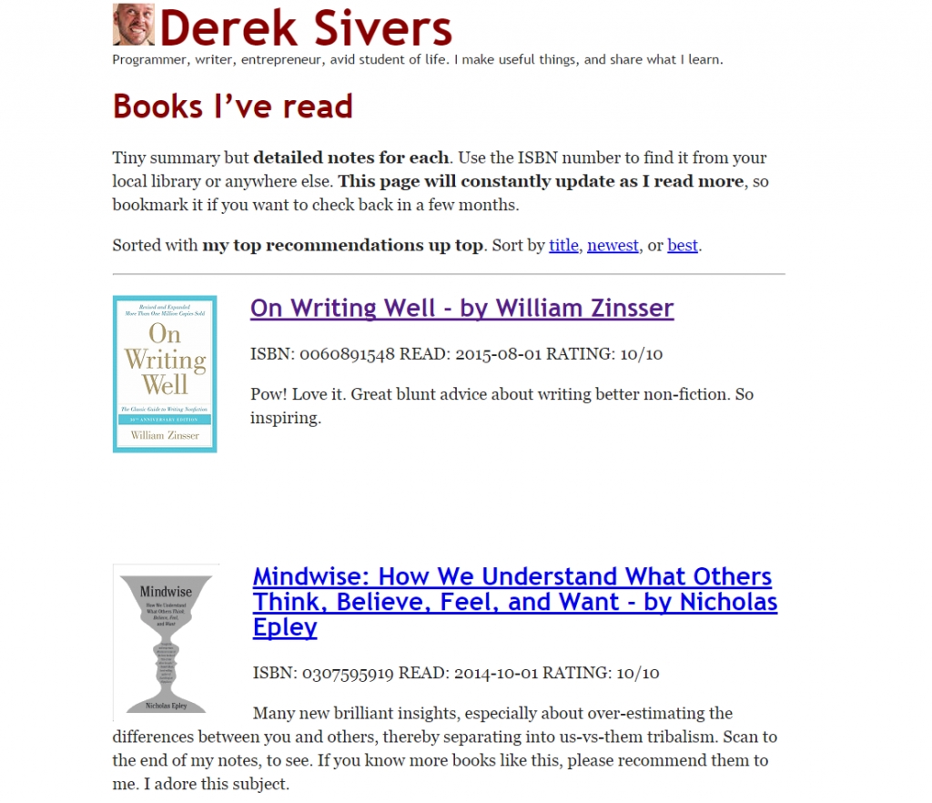 Derek Sivers newsletter
