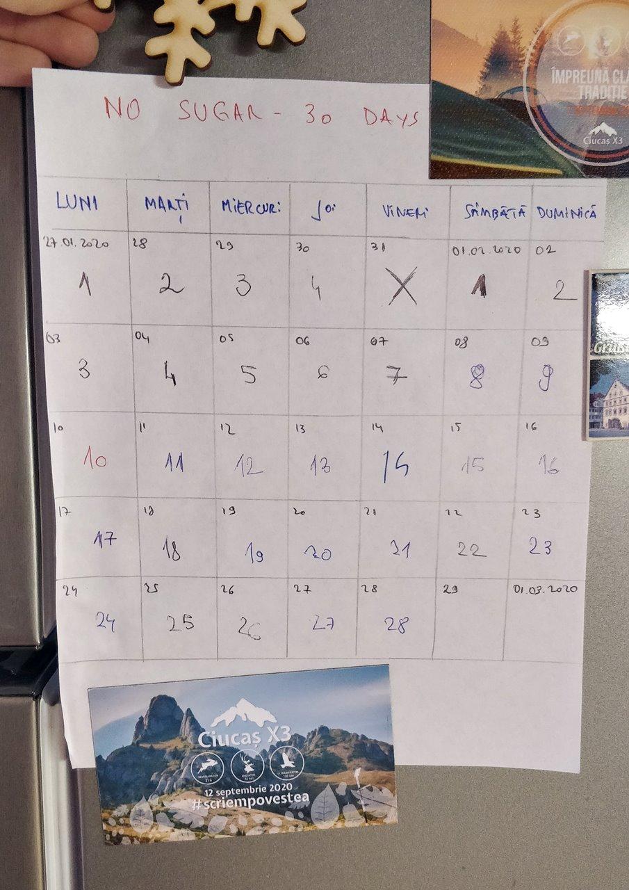30 zile calendar de provocare în greutate